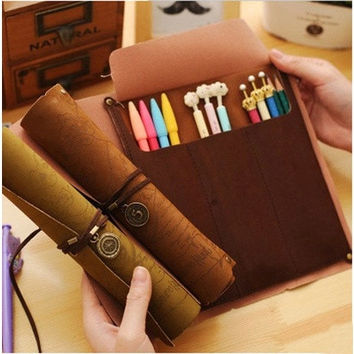 Retro Pirate Treasure Map Imitation Leather Roll Stationery Bag Pencil Pen case Bags [8072702023]