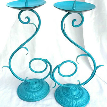 Rare French Metal Candlesticks Wrought Iron Candle Holder Candelabra Pair Aqua Turquoise Teal Scrollwork Centerpiece Antique Hand Painted