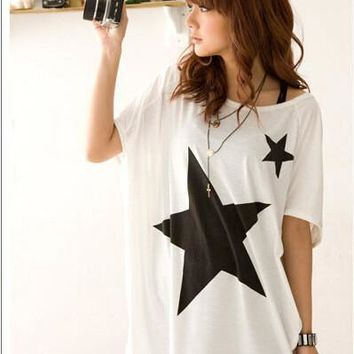 Women's Fashion Pattern Batwing Sleeve Plus Size Short Sleeve T-shirts [6048219137]