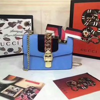 GUCCI WOMEN'S LEATHER SYLVIE INCLINED CHAIN SHOULDER BAG