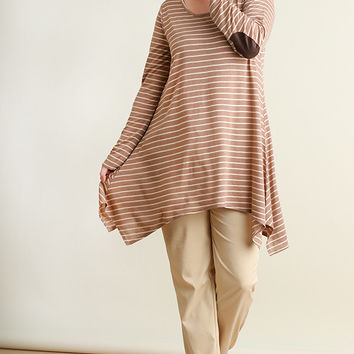 Long Sleeved Striped A Line Tunic with Elbow Patches