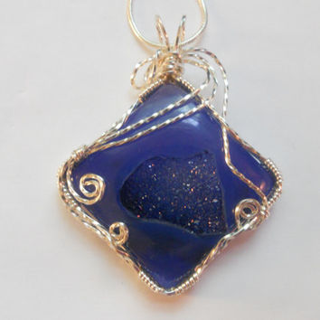 Blue Onyx Druzy Agate Wire Wrapped Pendant