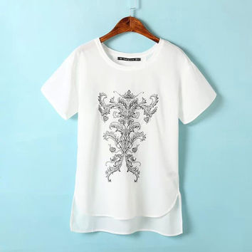 White Embroidered Short-Sleeve Asymmetrical Chiffon Shirt