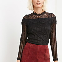 The Allflower Pointelle Knit Lace Top
