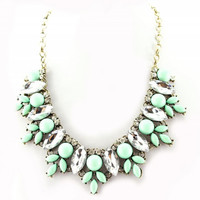 Bib Statement Fashion Necklace Turquoise