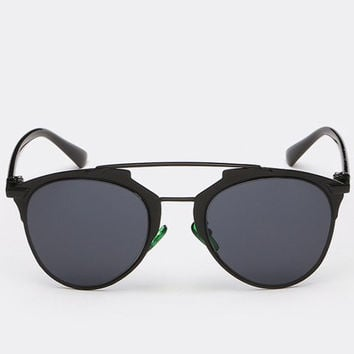 Black Frame Design Sunglasses with Alloy Bar