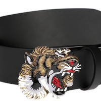 NEW GUCCI MEN'S BLACK LEATHER 3 DIMENSIONAL ENAMEL TIGER HEAD BUCKLE BELT 100/40