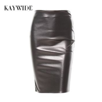 Women Spring Solid Midi Leather Skirt