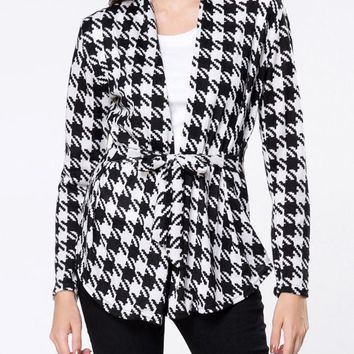 Casual Collarless Houndstooth Bowknot Cardigan