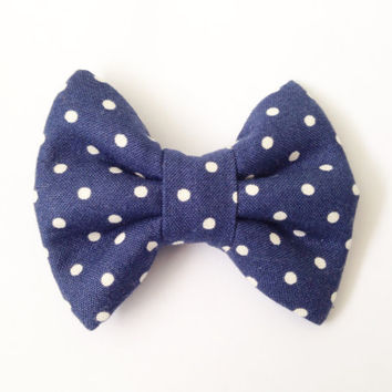 Navy with White Dots Handmade Bow (Handmade Bow / Bow Tie / or Headband)