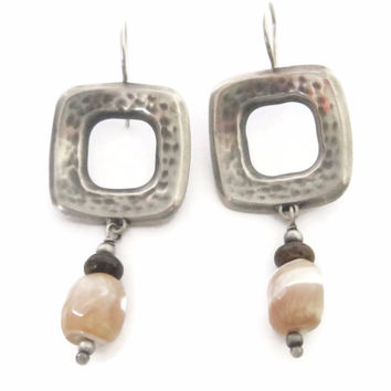 Square Sterling Mother of Pearl Dangle Earrings 90s Vintage