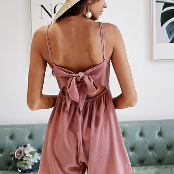 Back Bow Lace Top Romper