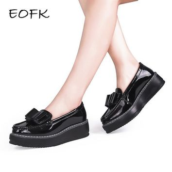 EOFK 2017 New Women Platform Shoes Woman Patent Leather Ballet Flats slip on Casual Bo