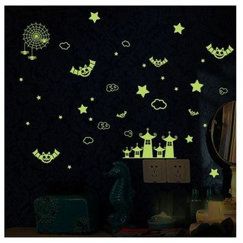 VONFC9 New Fluorescence Wall Stickers Cartoon Small Castle DIY glow in the dark wall stickers for kids rooms
