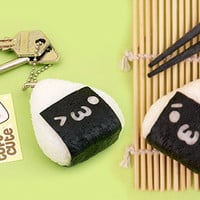 Buy Kawaii Onigiri Emoticon Rubber Keychain at Tofu Cute