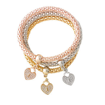 New Fashion Three Layers Gold Silver Rose Gold Fashion Heart Pendant Bracelets Bangles Women Charm Vintage Jewelry