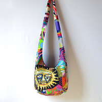 Patchwork Crazy Quilt Hobo Bag, Boho Bag, Sublime Sun, Sling Bag, Upcycled, Bright, Colorful, Hippie Purse, Crossbody Bag