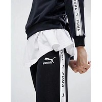 PUMA Lengging Trouser Side Logo Women Men Trending Pants B-YF-MLBKS Black