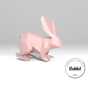 Printable DIY template (PDF).  Rabbit low poly paper model. 3D paper trophy. Bunny. Origami.