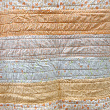 Peach Elephant Rag Baby Quilt  - Strip Quilted Rag Crib Quilt - Peach, Cream, Gray and Lime