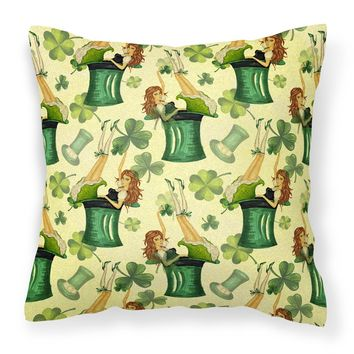 Watercolor St Patrick's Day Party Fabric Decorative Pillow BB7559PW1818