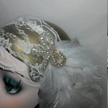 Roaring 20s, summer wedding, gypsy, pirate, feather, gatsby party, ladies headband, headpiece, burslesque, circus