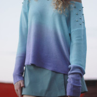 Ombre Studded Sweater Blue Purple Tumblr Sweater
