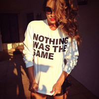 NOTHING WAS THE SAME Women's Casual Black Gray & White Drake Crewneck Sweatshirt
