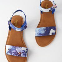 Taryn Blue Multi Flat Sandals