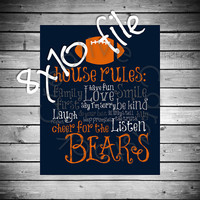 Chicago Bears House Rules - 8x10 INSTANT Digital Copy