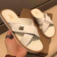Louis Vuitton LV New Fashion Men Sandals Shoes Flip Flop Slipper White