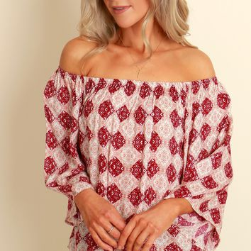Stars Collide Print Top Burgundy
