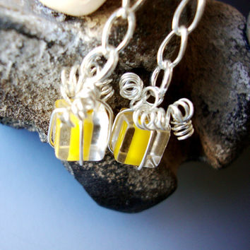 Tiny Yellow Glass Gift Box Sterling Bow Earrings