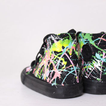 Toddler All Black High Top Splatter Painted Converse Sneakers Toddler Size 5, Green Melon Colors