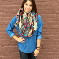 Falling Leaves Blanket Scarf- Tan