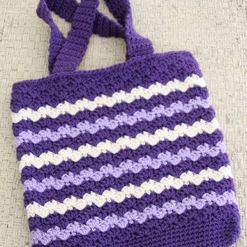 Crochet Tote Bag, Crochet Bag, Purple Striped Crochet Tote Bag