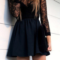 Fashion Hollow Out Black Lace Crochet Bodycon Mini Dress