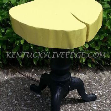 Live Edge Stool, Wooden Plant Stand, Lemon Yellow, Reclaimed Piano Stool, Modern, Side Table, Lazy Susan, Log Stool, Log Table, Side Table