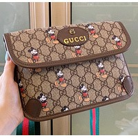 GUCCI New fashion mouse more letter leather shoulder bag crossbody bag shoulder bag