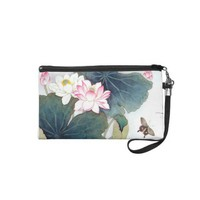 cool chinese lotus leaf pink flower butterfly art wristlet from Zazzle.com