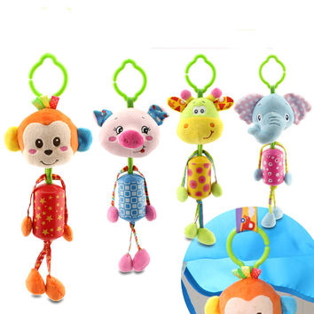 Lovely Baby Stroller Hanging Toys Plush Animal Campanula Baby Rattles Mobile Musical Classic Toys Gifts WJ295
