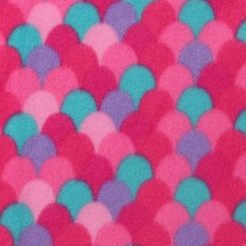 Blizzard Print Fleece Fabric by the Yard -Pink Mermaid Scales