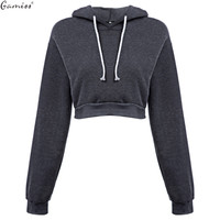 Woman Crop Hoodies  Autumn Chic Lace Up Long Sleeve Pullover Sweatshirt Women Crop Top Girls Black