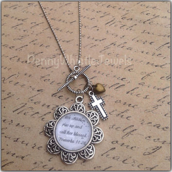 Proverbs 31:28 Scripture Necklace, Mom Jewelry, Mother's Day Gift, Gift For Her, Christian Jewelry, PennyWhistle