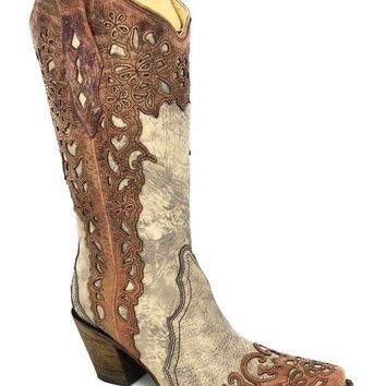 LMFYW3 Corral Women's Sand/Cognac Laser Overlay Snip Toe Boots A2665