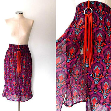 Peacock print skirt. purple. blue. orange. split skirt. floaty. semi -sheer. vintage. elasticated. small. tassel. midi boho beach skirt