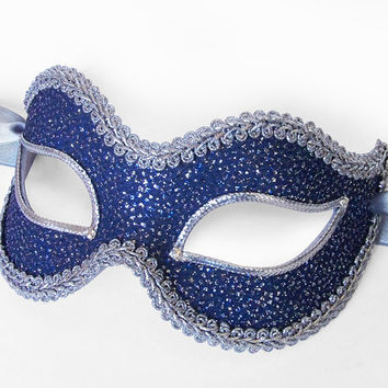 Blue And Silver Glitter Masquerade Mask - Venetian Style New Year's Masquerade Ball Mask With Silver Braid