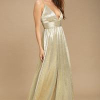 Gilded Goddess Gold Maxi Dress