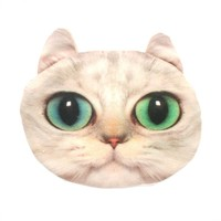 White Kitty Cat Face Shaped Soft Fabric Zipper Coin Purse Make Up Bag with Bright Green Eyes