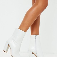Missguided - White Feature Heel Croc Ankle Boots